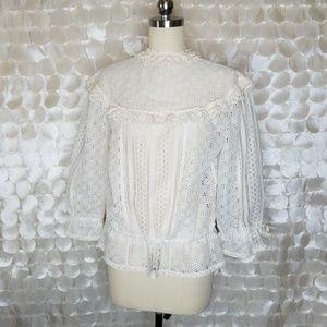 Vintage Ivory Crochet Lace Boho Chic top